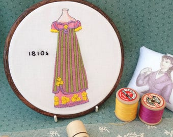 Embroidery Kit - 1810s Gown Historical Fashion - Illustration on Cotton Fabric, Needle, Cotton Threads and Full Instructions - Medium Size