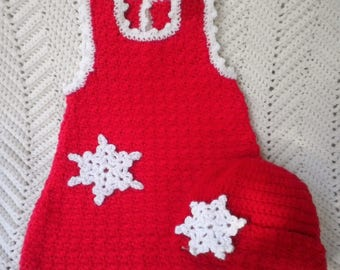 Crocheted Christmas Red Jumper Infant w Snowflake Applique and Matching Hat