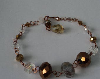 OOAK Gold &  Various Light-Colored Crystals Adjustable Bracelet Wire-Wrapped