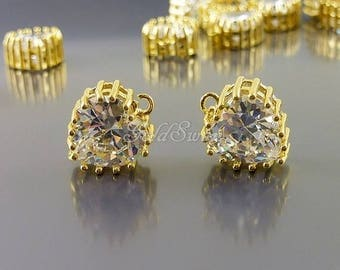 2 clear crystal CZ heart charms, cubic zirconia heart pendants, heart jewelry 2108G-CL