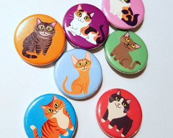 Cat Buttons/Badges/Pins - choose any 3