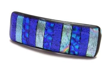Small Barrette, Dichroic Barrette, Hair Accessory, Fused Glass Barrette, Great for Thick Hair, Blue Barrette
