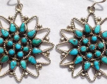 Navajo Sterling Silver Petit Point Turquoise Sunburst Cluster  Dangle Earrings