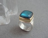 RESERVED - Second Payment on Deep Teal Labradorite Ring in 18k Gold and Sterling, Cushion Cut Blue Gemstone Ring