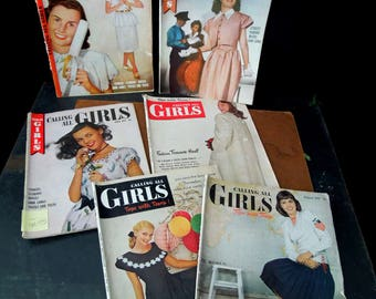 Six Calling All Girls Magazines 1946 -47 -  Fashion Beauty Advertisement's -  Vintage Teen Advice - Paper Ephemera Prop Display
