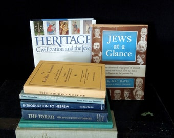 Book Collection Jewish History - Literary Gift Display - Vintage Book Stack - Gift Housewarming Hanukkah Chanukah