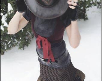 Skirt - Steampunk - Burning Man - Playa Wear - Petticoat Skirt - Knee Length - Textured Skirt - Gypsy Boho - Sexy - Victorian - Size Medium