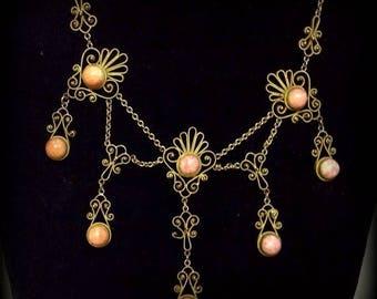 CIJ SALE Christmas JULY Beautiful Italian Renaissance Victorian Art Nouveau Brass Coral Art Glass Festoon Vintage Antique Bib Necklace