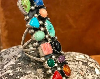 CIJ SALE Christmas JULY Beautiful Long Native American Prong Set Multi Stone Sterling Silver Vintage Ring Singed