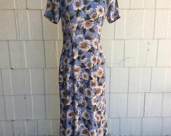 Floral Dress Vintage Grunge 90s dress daisy print Maxi dress Small  / Medium