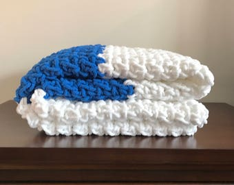 Chunky Crochet Blanket in Royal Blue and White