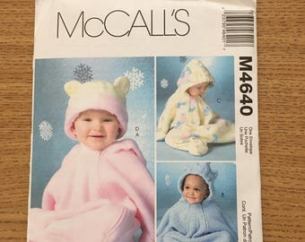 Sewing Pattern ~ McCall's 4640 ~ Infants Fabulous Fleece Buntings and Hat