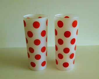 Red Dots - 2 Fire King Dots Tumblers 1960's Glasses