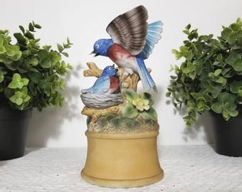 "Vintage Music Box, Bluebirds, Mom and Baby by Shafford, Japan. Plays ""The Way We Were"" (Memories) by Barbra Stresisand. On/Off Switch."