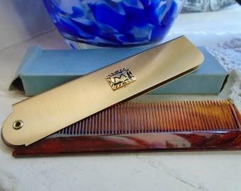 Hair Accessories  Gold Tone Metal Case   Tortoise Colored Plastic Comb