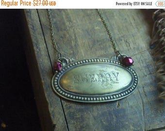SALE The Sherry Necklace. Vintage metal liquor tag & Czech glass necklace boho necklace unique ooak neck art SECRET SANTA Gift. Stocking stu