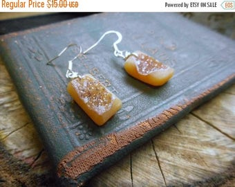 SALE The Peach Glaciers Druzy Earrings. Peach Druzy Stone and silverplate earrings.
