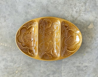 etched butterscotch sectioned ceramic mod dish - 1211443