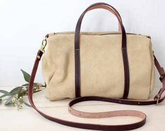 SOPHIE Barrel bag tan suede leather crossbody