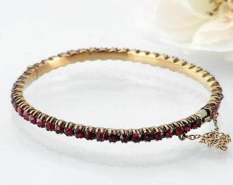 Antique Garnet Bracelet   Victorian Bohemian Garnet Bangle   52 Rose Cut Garnets   Hinged Gemstone Bracelet   Small - 6 Inch Wrist Size