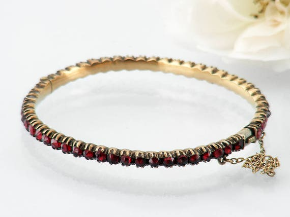Antique Garnet Bracelet | Victorian Bohemian Garnet Bangle | 52 Rose Cut Garnets | Hinged Gemstone Bracelet | Small - 6 Inch Wrist Size