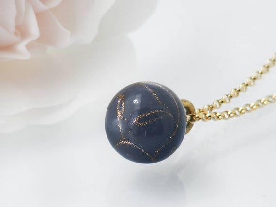 Victorian Drop Pendant | Unique Purple-Grey, Aventurine Glass 'Charm String' Necklace, Antique Charm String Button Pendant - 20 Inch Chain