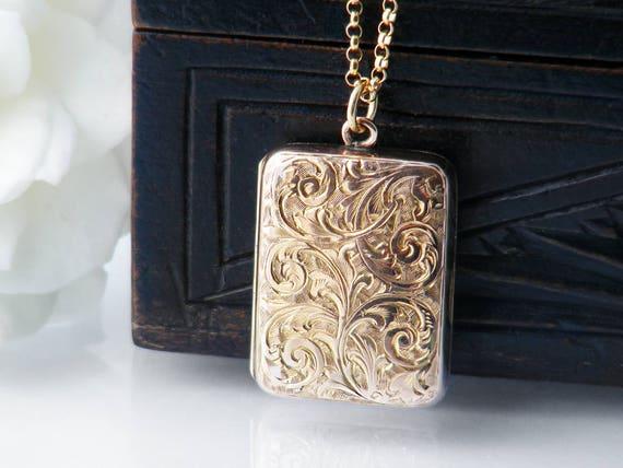 1898 Antique Locket | Solid 9ct Gold Victorian Book Locket | .375 English Hallmarked Rosy 9ct Gold Wedding Locket Necklace - 20 Inch Chain