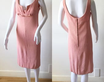 1960s Soft Pink Wiggle Dress Stretch Fabric Bow Detail S Vintage