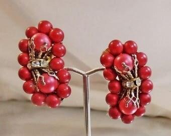 SALE Vintage Red Bead Climber Earrings. Rondelle Rhinestones.  1950s Climber Earrings.