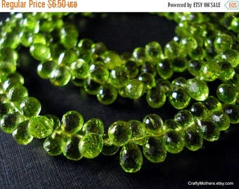 7% off SHOP SALE Last Ones! Green PERIDOT Microfaceted Teardrop Briolettes, 6.5-7mm long, Set of 10 pieces, natural gems