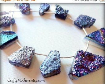 8% off SHOP-WIDE, CLEARANCE! Rainbow Titanium Druzy Agate Slab Beads, asst. sizes, iridescent, earrings, necklace, focal, pendant, ooak, dru