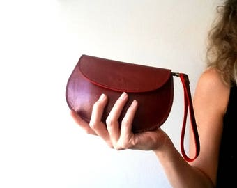 Red leather purse - woman wallet