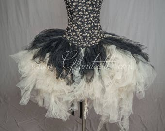 Ready to ship size medium Ivory and black skulls and tulle burlesque prom dress witch costume