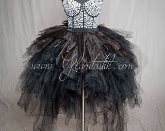 READY TO SHIP Size Medium rhinestone Corset Prom dress with Black tulle skirting