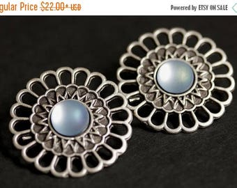 BACK to SCHOOL SALE Set of Two Norse Apron Pins. Shoulder Brooches. Powder Blue and Aged Silver Norse Brooches. Viking Brooches. Historical
