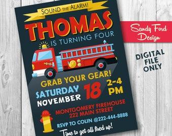 Fire Truck Birthday Party Invitation, Firefighter Invitation, Fireman Invitation, Fire Engine Printable DIGITAL FILE