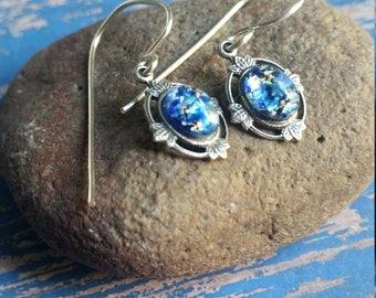 Blue Opal, Opal Earrings, Floating Leaves Earrings, Bridesmaid Earrings, Summer Gifts, Something Blue, June Gifts, Vintage Earrings, Gifts