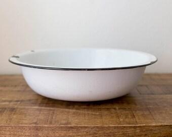 Vintage Enamelware Basin / Enamelware bowl/ white with black trim