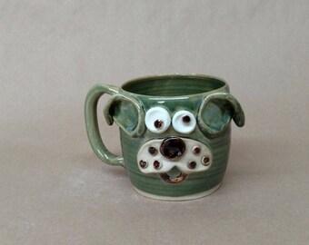 Gift for Vet. Cute Dog Coffee Mug in Green Gloss. Microwave and Dishwasher Safe Stoneware Pottery by Ug Chug Mugs. Everyday Tea Mug.