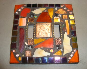 MOSAIC LIGHT SWITCH Plate Cover - Double, Wall Plate, Home Decor, Copper, Red, Orange, Stained Glass Chips