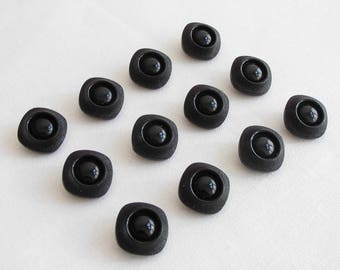 12  great  large square black  glass buttons - (22  x 20 mm -  3/4 x 3/4 in.)