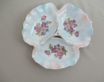 Vintage Floral Candy Nut Dish Relish  Condiment Dip Nic Nac Serving Dish