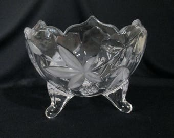 Vintage Footed Candy Dish Potpourri Dish Etched
