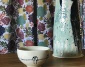 Small Square Bowl Bird on a Wire Dessert Bowl personal Bowl Trinket Bowl Jewelry Bowl  Birds