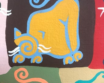 Meditations on the Maine Coon Original Swirly Cat Painting