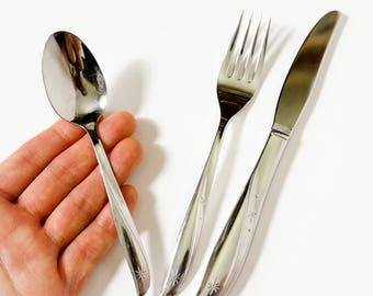 Vintage 1960s Oneida Twin Star Stainless Steel Childs Flatware Set VGC / Set of Youth Size Fork, Knife and Spoon