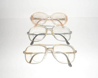 Three Pair Lot of Vintage Glasses For Projects Upcycle Recycle or Re-lens --- Luxottica & Unbranded