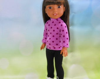 14.5 inch doll clothes, 14 inch doll clothes, Fits Dolls like Wellie Wishers, 14 Inch Doll Outfit, 14 Inch Top and Leggings, 02-2739