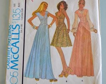 Vintage 1970's McCall's 4405 Junior Dress BOHO Festival Dress in Two Lengths Size 7 UNCUT