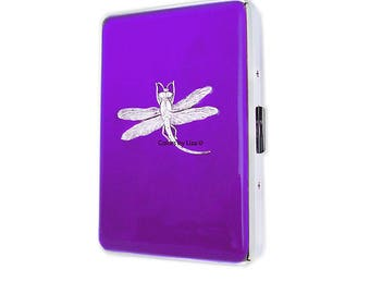 Dragonfly  Metal Cigarette Case Inlaid in Hand Painted Enamel Purple Orchid Opaque  Metal Wallet with Color Options and Personalized Options